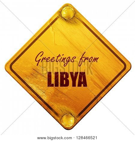 Greetings from libya, 3D rendering, isolated grunge yellow road