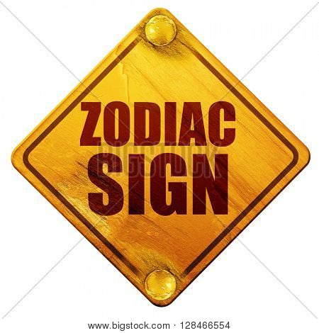 zodiac sign, 3D rendering, isolated grunge yellow road sign