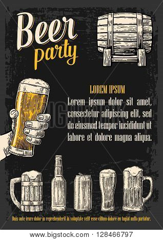 Two hands holding beer glasses mug. Glass barrel can bottle. Vintage vector engraving illustration for web poster invitation to beer party. Isolated on dark background.
