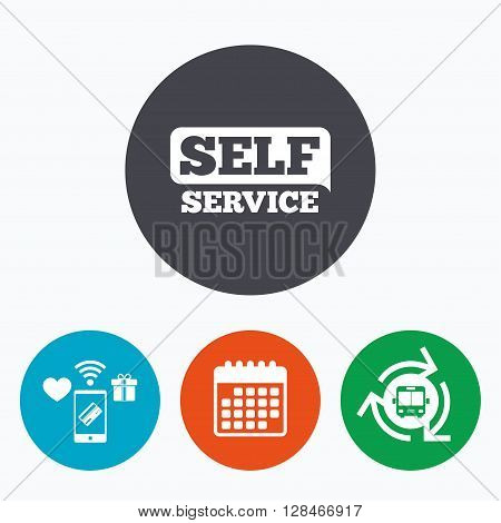 Self service sign icon. Maintenance button. Mobile payments, calendar and wifi icons. Bus shuttle.
