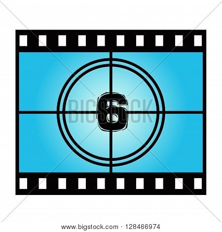 Film Screen Countdown Number Six. Vector Movie Illustration