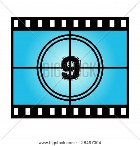 Film Screen Countdown Number Nine. Vector Movie Illustration
