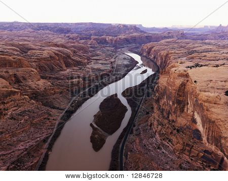 Green or Colorado River running through Canyonlands National Park, Utah, United States.