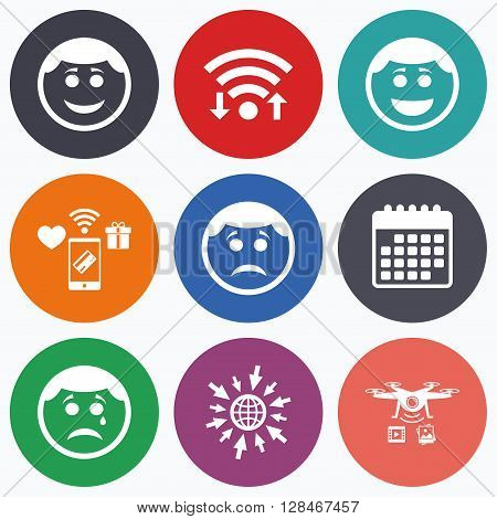 Wifi, mobile payments and drones icons. Circle smile face icons. Happy, sad, cry signs. Happy smiley chat symbol. Sadness depression and crying signs. Calendar symbol.