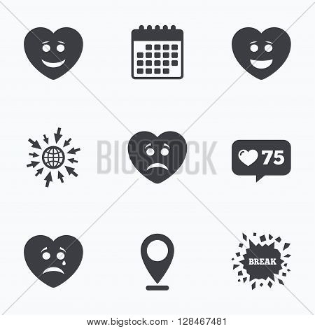 Calendar, like counter and go to web icons. Heart smile face icons. Happy, sad, cry signs. Happy smiley chat symbol. Sadness depression and crying signs. Location pointer.