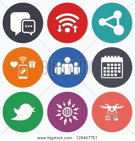 Wifi, mobile payments and drones icons. Social media icons. Chat speech bubble and Bird chick symbols. Human group sign. Calendar symbol.