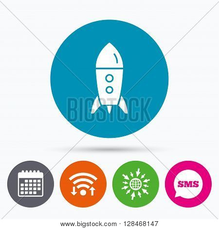 Wifi, Sms and calendar icons. Start up icon. Startup business rocket sign. Go to web globe.