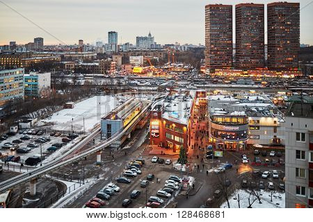 MOSCOW, RUSSIA - JAN 16, 2015: Highrise buildings and shopping centers at Dmitrovskoye highway - one of the largest highways of Moscow, it located in the north in several districts.