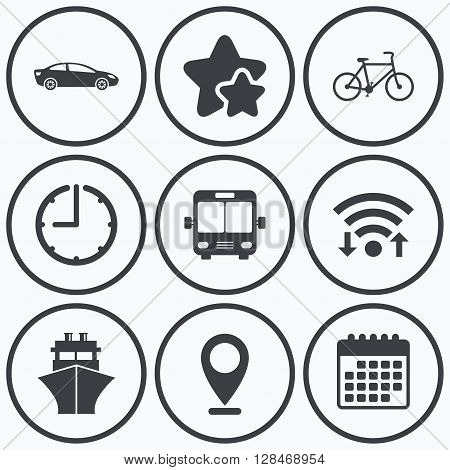 Clock, wifi and stars icons. Transport icons. Car, Bicycle, Public bus and Ship signs. Shipping delivery symbol. Family vehicle sign. Calendar symbol.