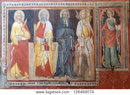 BOLOGNA, ITALY - JUNE 04: Saints, fresco painting in San Petronio Basilica in Bologna, Italy, on June 04, 2015.
