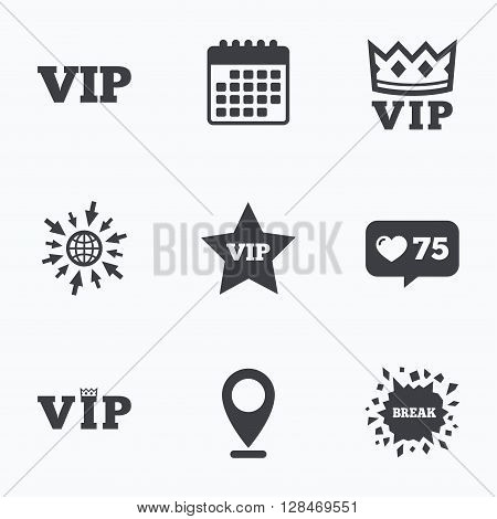 Calendar, like counter and go to web icons. VIP icons. Very important person symbols. King crown and star signs. Location pointer.