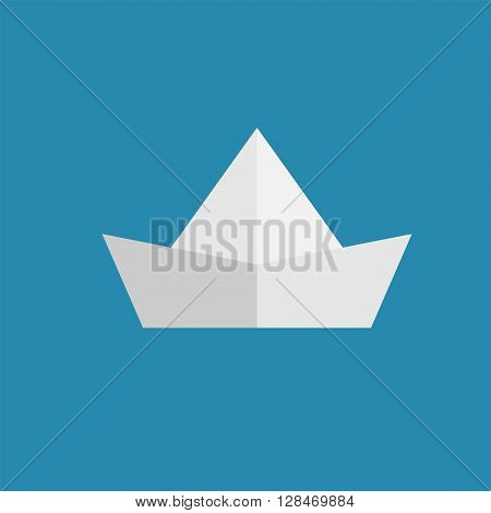 paper ship web icon illustration for mobile apps flat design cute baby picture on blue background