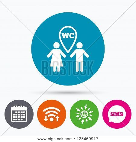 Wifi, Sms and calendar icons. WC Toilet sign icon. Restroom or lavatory map pointer symbol. Go to web globe.