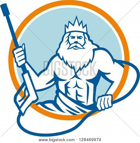 Illustration of a Neptune roman god of sea holding pressure power washer water blaster viewed from front set inside circle on isolated background done in retro style.