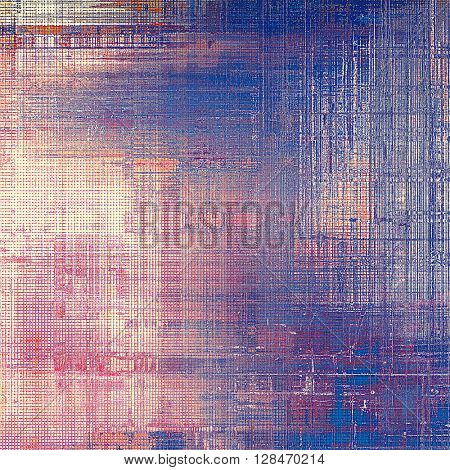 Old style decorative composition or designed vintage template with textured grunge elements and different color patterns: blue; red (orange); purple (violet); pink