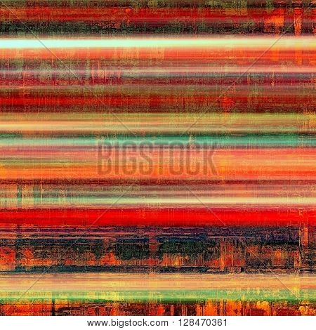 Retro style abstract background, aged graphic texture with different color patterns: yellow (beige); green; red (orange); purple (violet); pink; cyan
