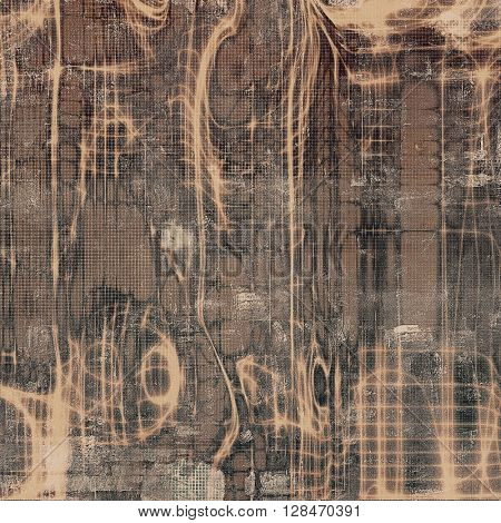 Vintage torn texture or stylish grunge background with ancient design elements and different color patterns: yellow (beige); brown; gray; black