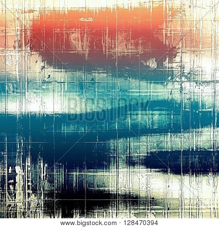 Old school frame or background with grungy textured elements and different color patterns: yellow (beige); blue; red (orange); black; white; pink