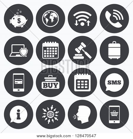 Wifi, calendar and mobile payments. Online shopping, e-commerce and business icons. Auction, phone call and information signs. Piggy bank, calendar and smartphone symbols. Sms speech bubble, go to web symbols.