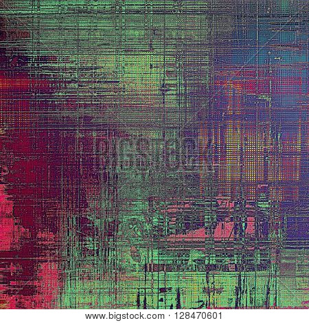 Abstract retro design composition. Stylish grunge background or texture with different color patterns: yellow (beige); green; blue; red (orange); purple (violet); pink