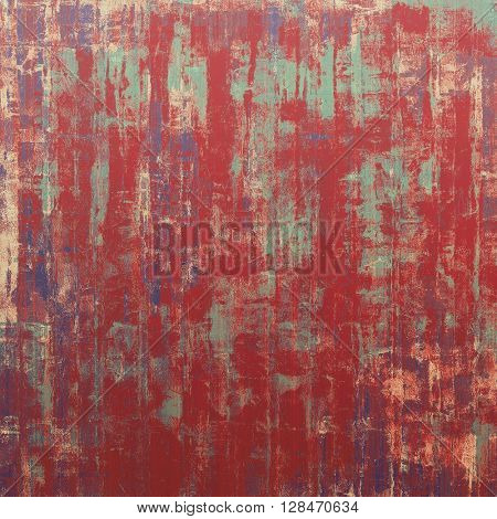 Old school frame or background with grungy textured elements and different color patterns: blue; red (orange); purple (violet); pink; cyan