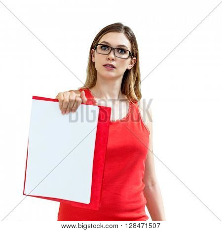 beautiful woman in glasses with folders