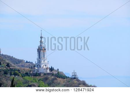 Malorechensky village , the Crimea - April, 2016: The temple-beacon of the Prelate Nicholas The Wonderworker in Malorechensky village, the Crimea