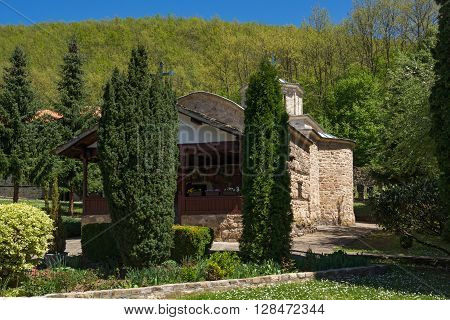 Amazing landscape with Cypresses and church in  Temski monastery St. George, Pirot Region, Republic of Serbia
