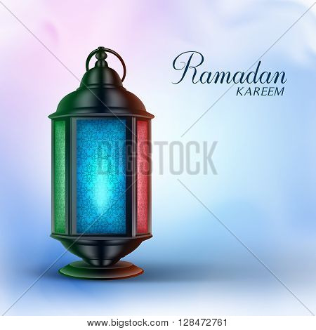 Ramadan Lantern or Fanous with Ramadan Kareem Greetings in a Colorful Background. 3D Realistic Vector Illustration