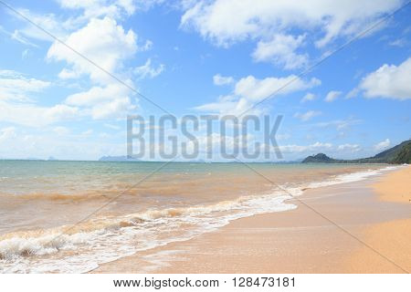 clearly sea water wave beach with blue sky on relax and vacation time