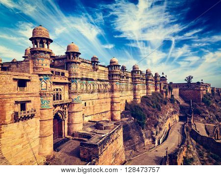 Vintage retro effect filtered hipster style image of famous indian tourist landmark - Gwalior fort. Gwalior, Madhya Pradesh, India