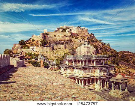 Vintage retro effect filtered hipster style image of Kumbhalgarh fort. Rajasthan, India