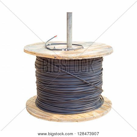 black electric cable wires in wood roll isolated on white background with clipping path