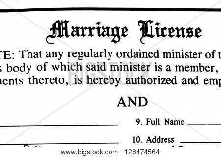 Marriage certificate form application to be married legally