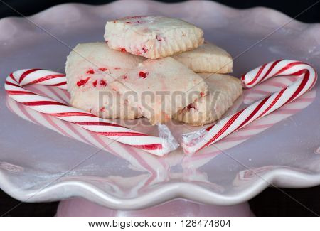 Gluten Free Peppermint Shortbread Cookies and Red and White Candy Canes.
