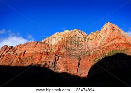 Cliffs with red canyons and trees