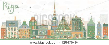 Abstract Riga Skyline with Color Landmarks. Vector Illustration.