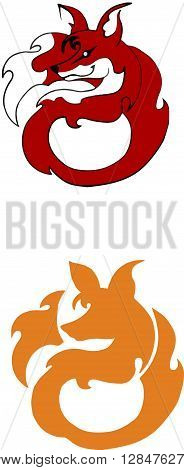 a stylized image of a red fox logos in the form of a fox on a white background