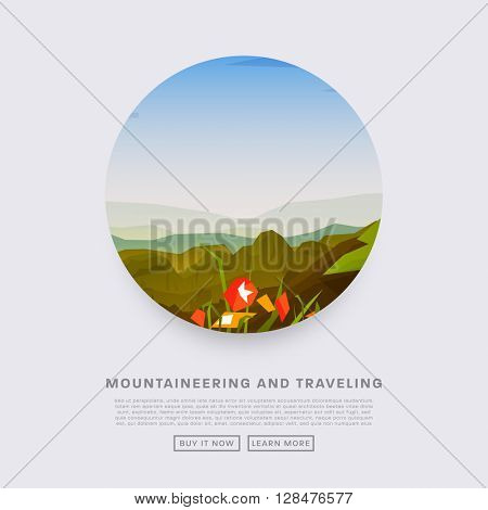 Summer landscape with hills covered with grass and flowers. Outdoor Recreation, Camping Concept. Blue Sky with Clouds.