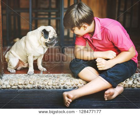 Boy Playful Doggy Friend Togetherness Concept