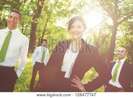 Green business team.