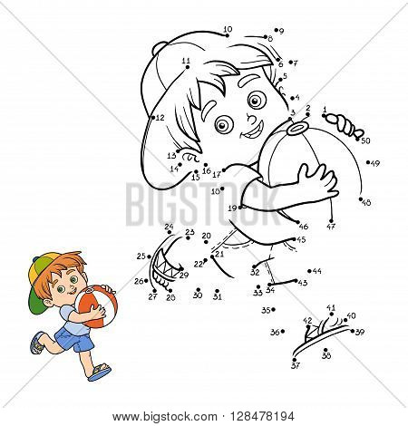 Numbers Game For Children. Little Boy With Inflatable Ball