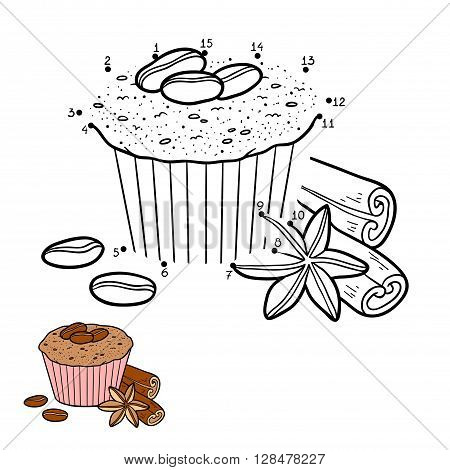 Numbers Game For Children, Vector Cupcake With Coffee Beans