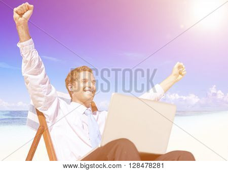 Businessman Relaxing on the Beach Concept