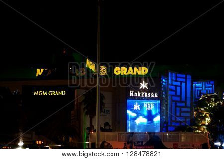 LAS VEGAS, USA - DECEMBER 23, 2015: The abstract reflections of casinos and luxury hotels MGM Grand and the nightclubs Hakkasan in a windowpane on December 23, 2015 in Las Vegas.
