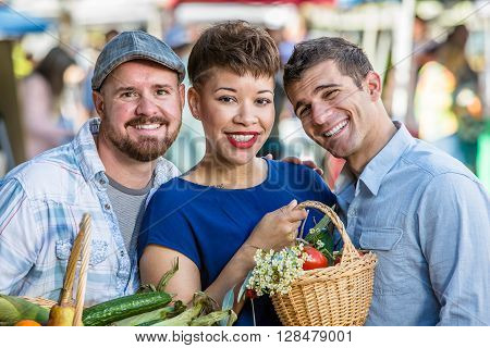 Smiling Friends At Farmers Market