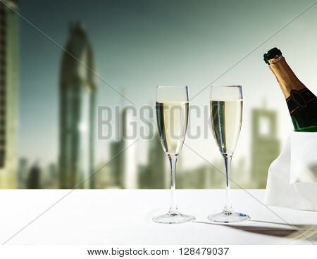 champaign Glasses and  skyscrapers of Dubai, UAE