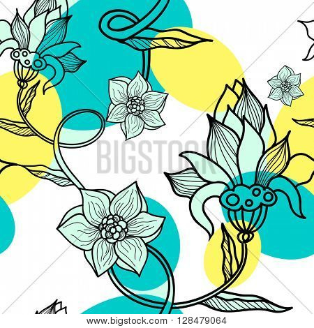 Decorative creative floral  seamless pattern with flowers. Vector illustration.