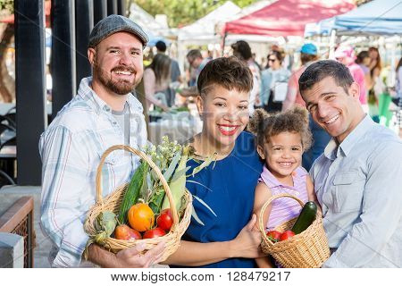 Happy Friends At Farmers Market