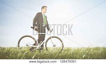 Businessman Cycling Freshness Outdoors Concept